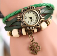 2014 Newest Style 7 Colors Ladies Genuine Leather Steampunk Women Watches Handcraft Bracelet Dress Wristwatch Four Leaf Clover