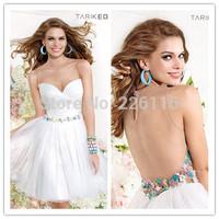 2014 New Sheer Illusion Sweetheart Neckline Bodice Flowers Sash Dropped Waist Tulle Mini Ball Gown Skirt Cocktail Dressesbrid