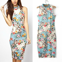 Summer New European Style Retro Print Crew Neck Slim Sleeveless Vest Dress   004