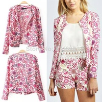 2014 New Fashion Autumn Women Vintage Colorful Floral Print Cardigan Jacket Coat Tops