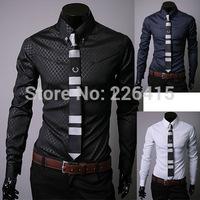 Free Shipping Fashion 2014 men casual shirt long sleeve mens dress shirts camisa social masculina chemise