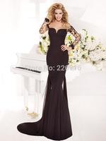 Hot New 2014 Chiffon Floor-length Gown Sweet Heart Neck Open Back Appliques Formal Mermaid Long Sleeve Evening Dress (sf-l11)