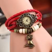 2014 Fashion Women Genuine Leather Vintage Quartz Dress Watch Bracelet Wristwatches ancient Roman punk owl woman Dress Watches