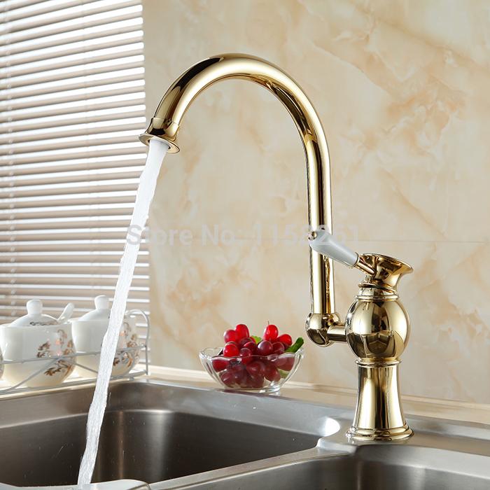 Spedizione gratuita 2014 di lusso in ottone dorato rubinetti della cucina miscelatore sola mano calda e fredda miscelatore lavabo acqua di rubinetto novità dl-9005