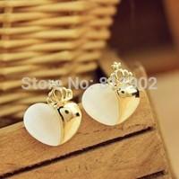 Hot selling stud earrings Allergy earrings color plating Crown stone love stud earrings 3pcs/lot