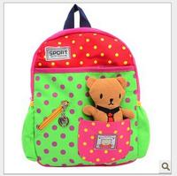 Wholesale 2014 new Cartoon kindergarten children prevent lost bag removable bear girl's and boy's book bag kids school bag F-173