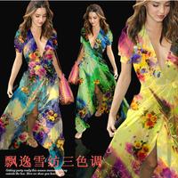 Hot Sell DIY Flower Print 100%Silk Chiffon Fabric  135CM*100CM  6Mommie  3Colors