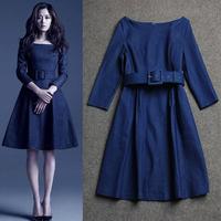 Free shipping 2014 autumn/winter brand Fashion women's solid blue elegant denim casual one-piece dress With belt