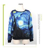 W.ZXS - Hot-Selling 2015 NEW Women Sweatshirt 3D Print Van Gogh Paintings Digital Printing Plus Size S-3XL Pullovers WW56
