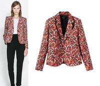 2014 Autumn Women's Floral Print Jacket coat Long-sleeve casacos femininos Blazer For Women Desigual Ladies Winter blaser suit