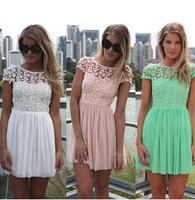 2014 New Fashion Summer Lace Crochet Pleated Chiffon Dress Women Mint Green Lace Cute Dress 4Color XS-2XL  Free Shipping