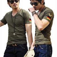 Hot 2014 Summer Men's T shirt Commando Army Style Fashion T shirt V neck Brassard Short Sleeve Men T shirt Plus Size M-5XL