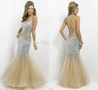 2014 Sale New Design Women Prom Dresses Sequin Rhinestone Mermaid Sexy Clear Evening Party Fashion Halter Backless Dressbridalk