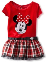 free shipping New 2014 Kids girls clothes cute Minnie mouse Dress casual plaid dress baby girls clothing dress fit summer