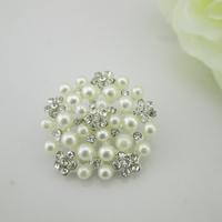 (FL204) Fashion Crystal Pearl Metal Flatback Rhinestone Button Embellishment For Sewing Craft