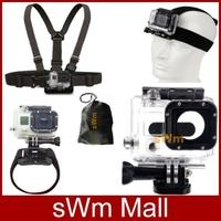 Go pro Sj4000 camera Accessorie Head Belt+Chest Belt+Wrist Strap+Bag+Skeleton Protective Housing case Gopro HD Hero 3/3+Black