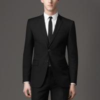 Black Single Breasted two Buttons Groom Suits Wedding Wear Groom Wear Plus Size 0776