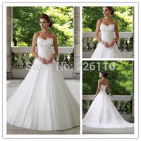 Vestido New Arrival Sweetheart Applique Beaded Girls' Wedding Dresses 2014 Ruffled Open Back Bridal Gowns Custom Madebridalk