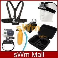 Go pro Sj4000 Accessories Head Belt+Chest Strap+Wrist Belt+Bag+Floating Hand Grip Mount+Containing Box Gopro HD Hero 3/2/1/3+