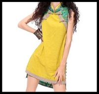 wholesale 2014 Summer women vintage frog patchwork cheongsam dress A6022