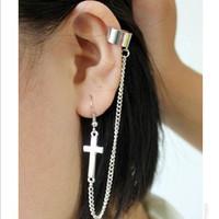 European and American trade fashion factory outlets minimalist punk cross tassel ear clip earrings