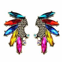 Aboriginal style fashionable bright multicolored explosion models Latin tassel earrings rhinestone earrings