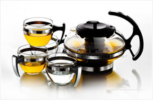Free shipping + coffee & tea set + 300 ml transparent glass flowers teapot filtering teapot + 4 + heat