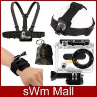 Go pro Sj4000 Accessorie Head Belt+Chest Belt+Wrist Strap+Bag+Camera Waterproof Protective Housing Case Gopro HD Hero 1/2+Black