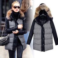 2014 new winter jacket women raccoon fur long straight cotton padded coat thickening warm plaid outerwear parka jaqueta feminina