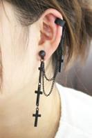 NEW punk personality style metal cross tassel cross Ear clip 1PCS