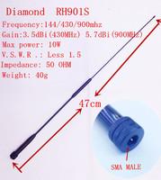 Diamond  RH901S UV 144/430/900 mhz antenna SMA Male for WOUXUN KGUV8D,YAESU,Vertex stand Linton ect. freeshipping