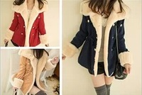 Free shipping new fashion 2014 winter coat thick wool double-breasted wool coat cashmere coat thin coat female S M L XL