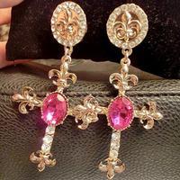 Fashion jewelry new catwalk models retro baroque big shiny  rhinestone earrings cross earrings exaggerated Free shipping