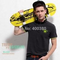 Male  shirt short-sleeve  T-shirt british style 100% men's cotton clothing