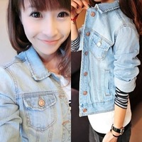 Hot sale! 2014 spring women's fashionable casual long-sleeve short design denim coat jeans jacket for women free shipping