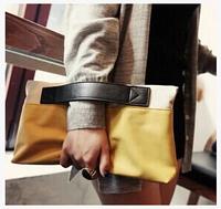 2014 fashion women's handbag color block patchwork bag all-match folding day clutch bags