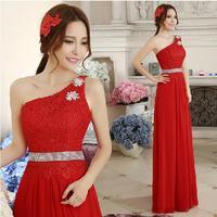 Fashion Red One Shoulder Lace Long evening dress Chiffon Champagne prom dresses 2014 vestido de festa longo party dresses E49