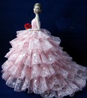 Handmade Fashion Wedding Pink Dress Clothes For Barbie Dolls