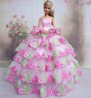 Fashion Wedding Dress Pink Clothes For Barbie Dolls