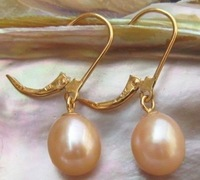 GENUINE 11-13 MM AAA++ PINK SOUTH SEA PEARL EARRINGS 14K SOLID GOLD MARKED