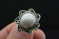Natural crystal Nepal silver antique 925 sterling silver pearl ring