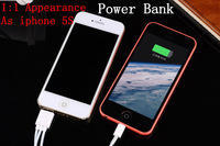 For iphone 5S 1:1 phone Shape Appearance Mobile Slim Power Bank 5200 mA External Backup Battery Universal Li-Polymer Charger