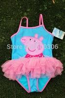 girl peppa pig one piece bikini kids swimwear 5pcs per lot