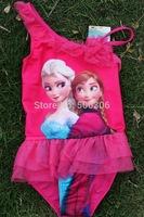 girl frozen one piece bikini elsa and anna costume kids swimwear 4pcs per lot