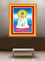 2014 New 5D Round Diamond Mosaic Painting Kits Religion Human Women Buddha Goddess of Mercy sitting on lotus Entrance Decoration