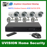 CCTV Security 4CH H.264 full D1 CCTV Digital Standalone DVR 4pcs 700TVL waterproof day-time Camera Kit system free shipping