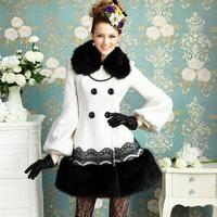 NEW 2014 Fashion Noble Women inlay black fur collar white lace noble ladies put on a large waist lantern sleeve woolen coat