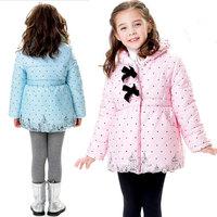 Free Shipping 2013 Winter warm long coats polka dot outwear girls cotton children clothing thicken down jacket