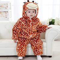 The new three-dimensional shape of a giraffe winter plus cotton coveralls Romper