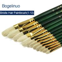 Evergreen Rod Bristle Oil Paint Brush Acrylic Paint Brush Set Watercolor Gouache Pen Art Supplies A Set of 12